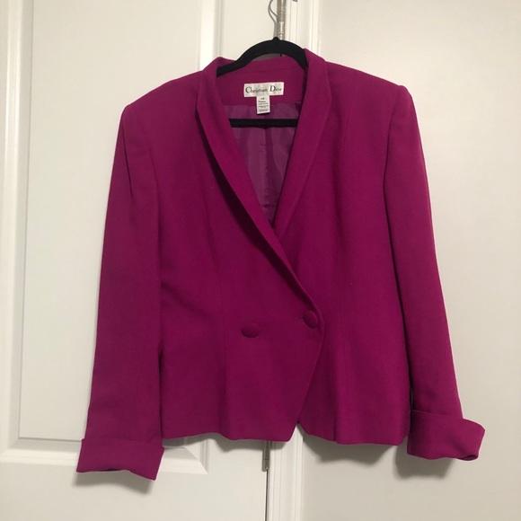 Christian Dior Purple Wool Vintage Blazer Jacket